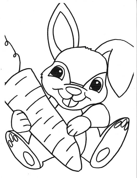 Bunny Printable Coloring Page Printable Kids Coloring Instant