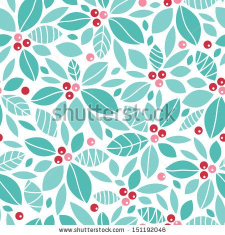 Christmas holly berries seamless pattern background by Oksancia, via ShutterStock