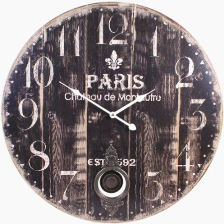 Giant Paris Design Wooden Effect Pendulum Wall Clock   58cm: Amazon.co.uk
