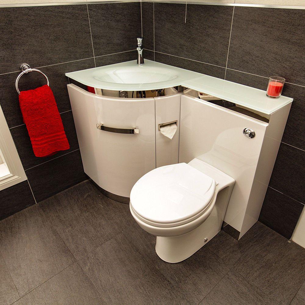 Combination Unit Toilet Sink Bathroom Vanity Cabinet White Glass ...