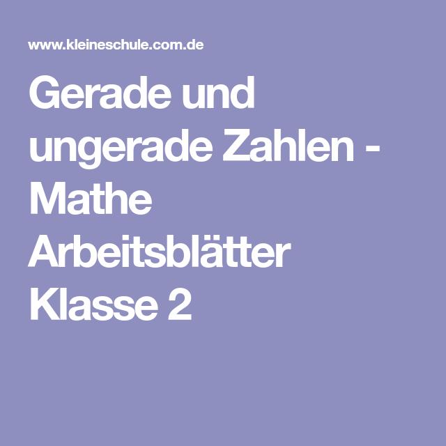 Gerade und ungerade Zahlen - Mathe Arbeitsblätter Klasse 2 | Mathe ...