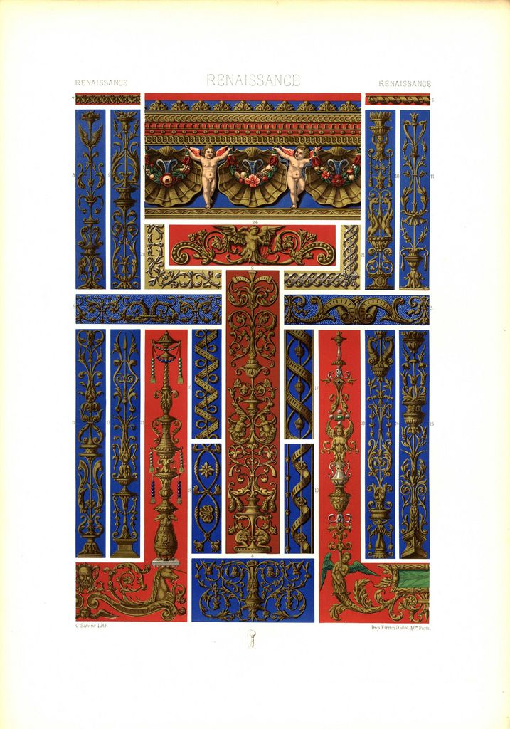 Auguste Racinet, L'Ornement Polychrome, II / Das Polychrome Ornament, German Verlag : C.F. Schulz & Co. Verlagsbuchhandlung (ca. 1900)