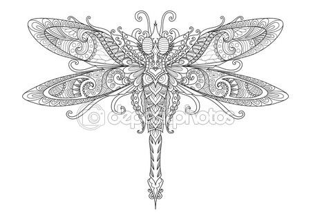 Garabatos diseño de libélula tatuaje, elemento de diseño, graphic ...