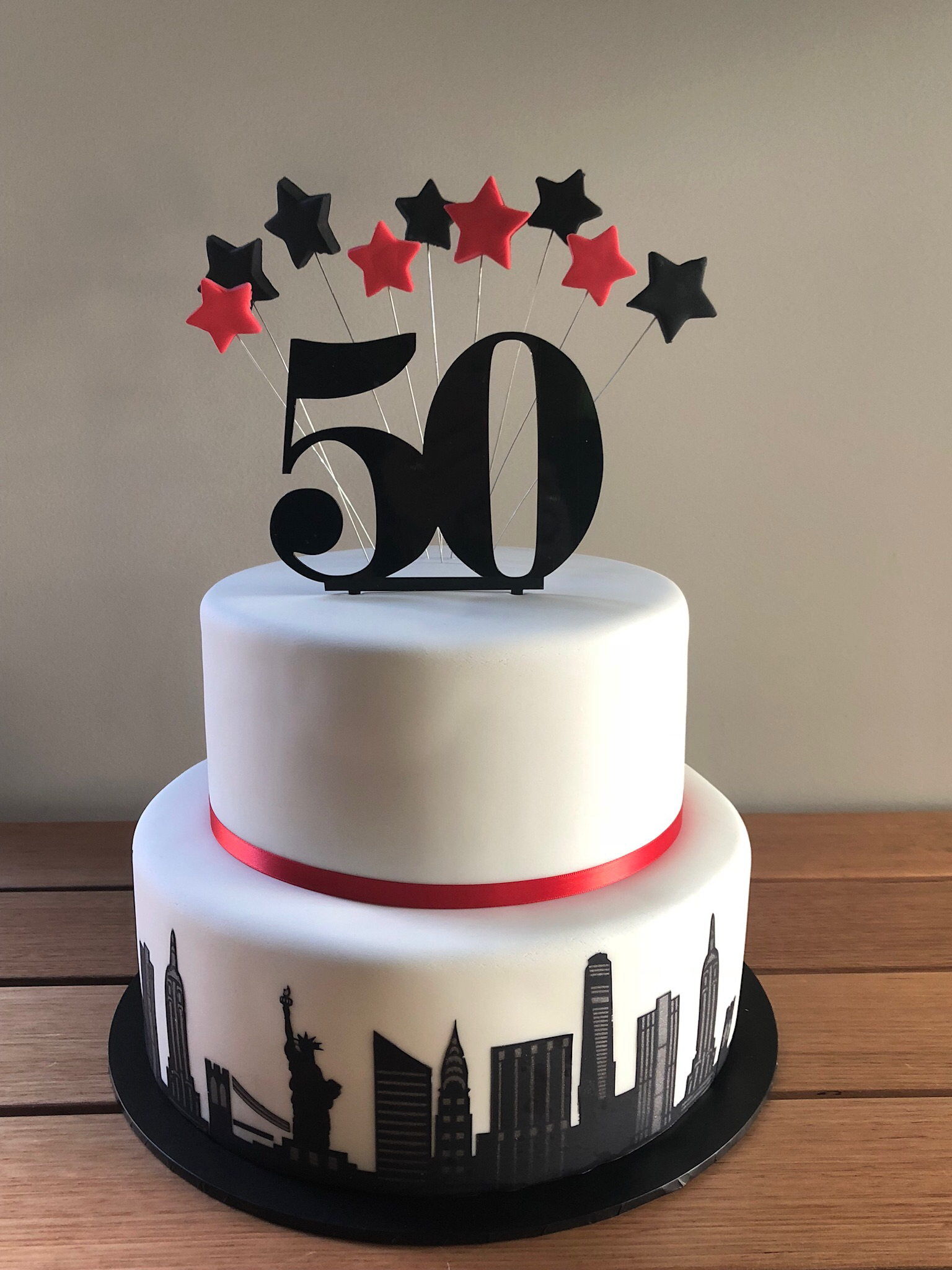 Terrific 50Th Birthday Cake New York City Theme Cake Lace Used In Stencil Birthday Cards Printable Riciscafe Filternl