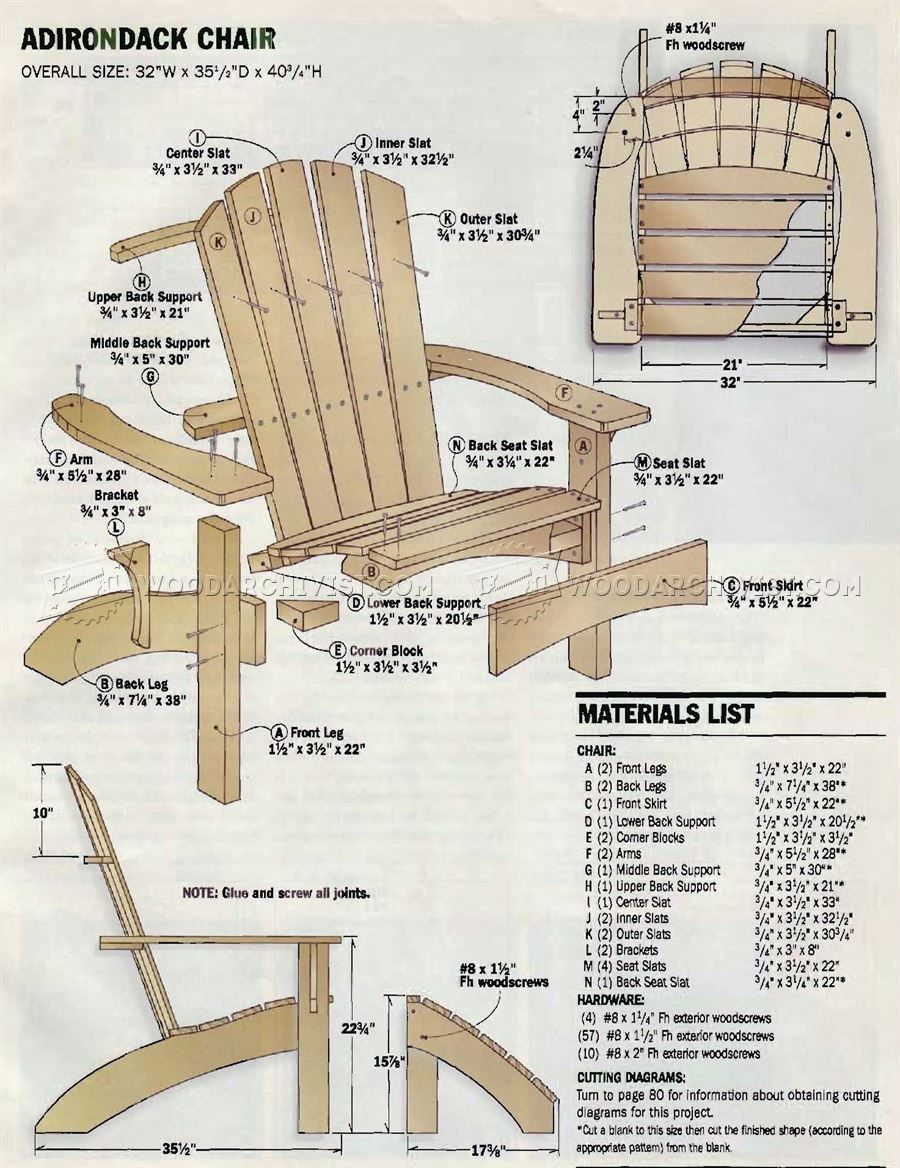 944 Adirondack Chair and Ottoman Plans  Outdoor