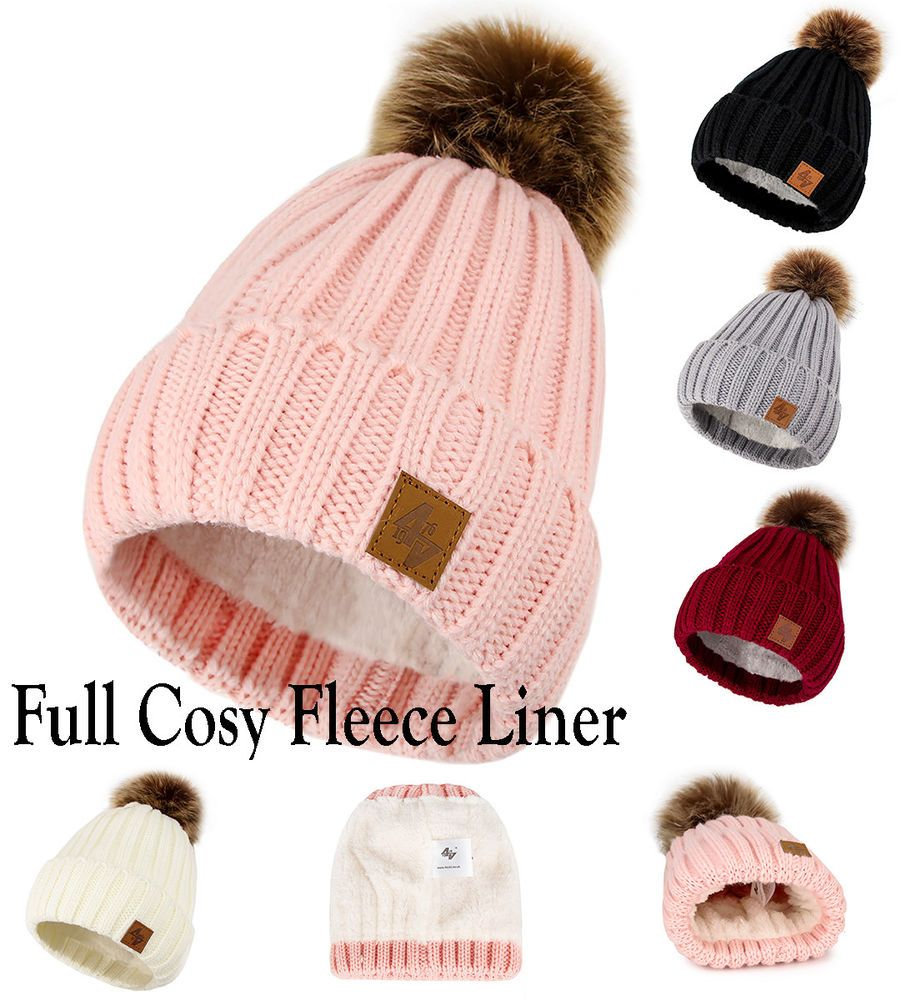 240763edb76 Boy Girl Cable Knitted Bobble Hat Plain Beanie Very Warm Winter Pom Wooly  Cap  fashion  clothing  shoes  accessories  kidsclothingshoesaccs ...
