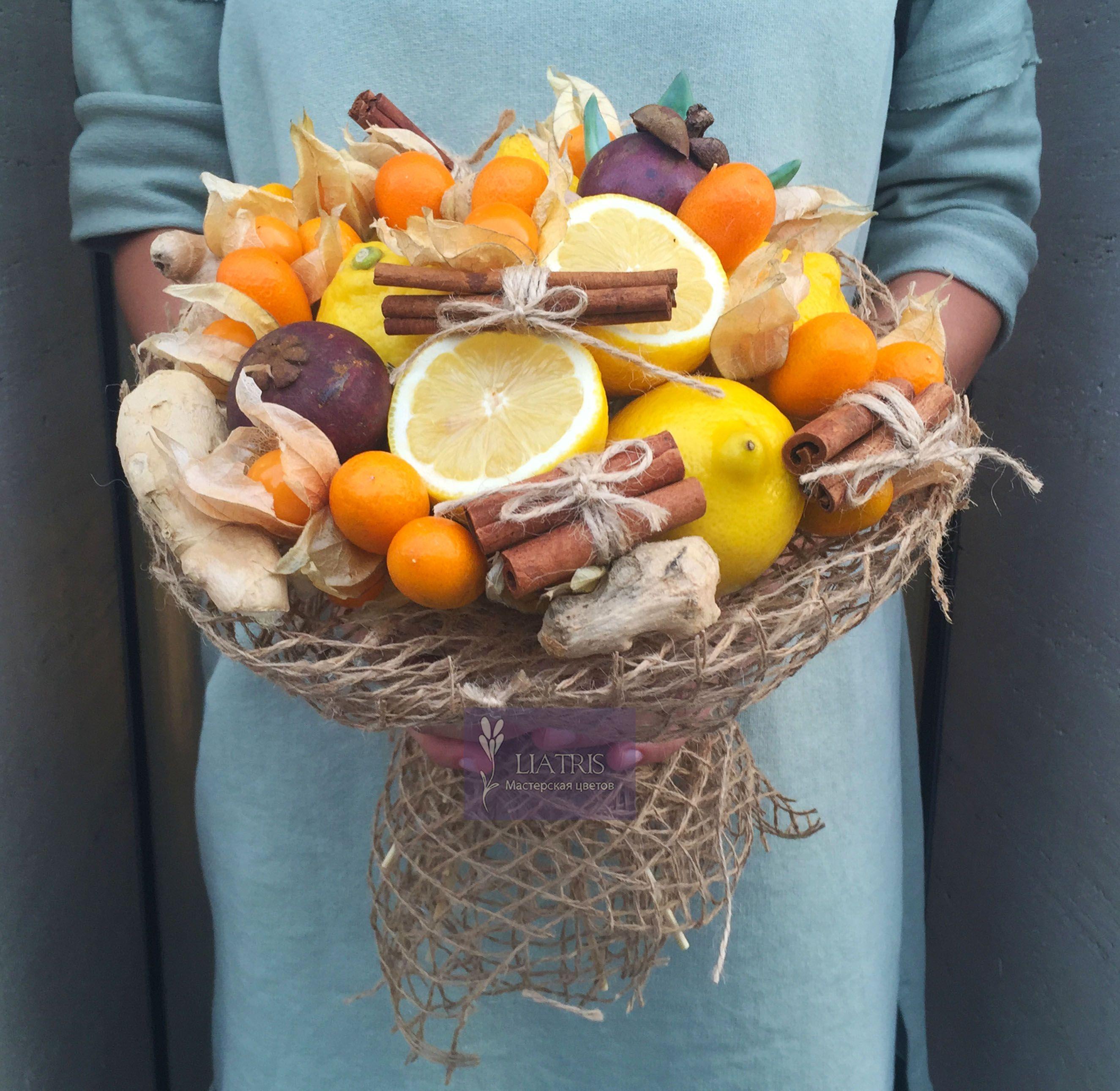 осенние букеты из овощей и фруктов фото