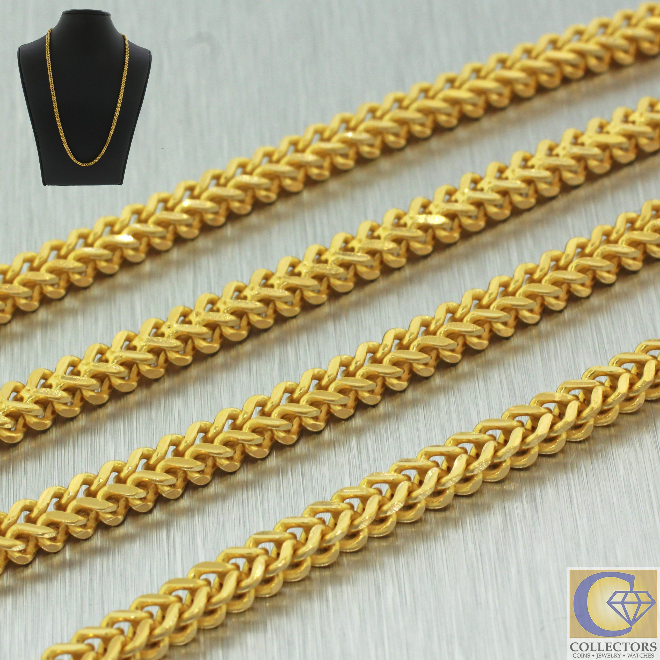 K solid yellow gold cuban box link chain necklace mm