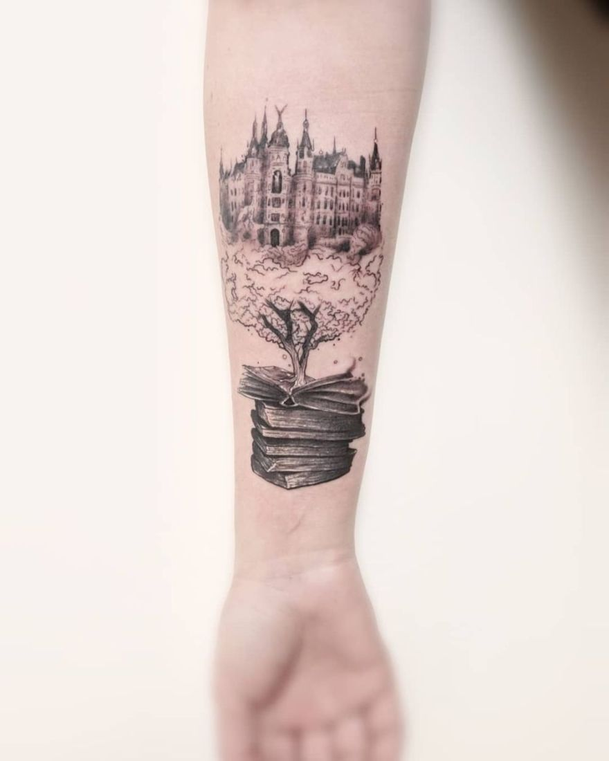 Black and white tattoo ideas aweinspiring book tattoos for literature lovers  accessories