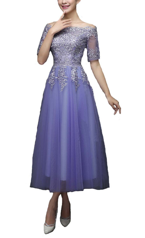 Fanhao Women\'s Embroidery Lace Half Sleeves Chiffon Princess Long ...