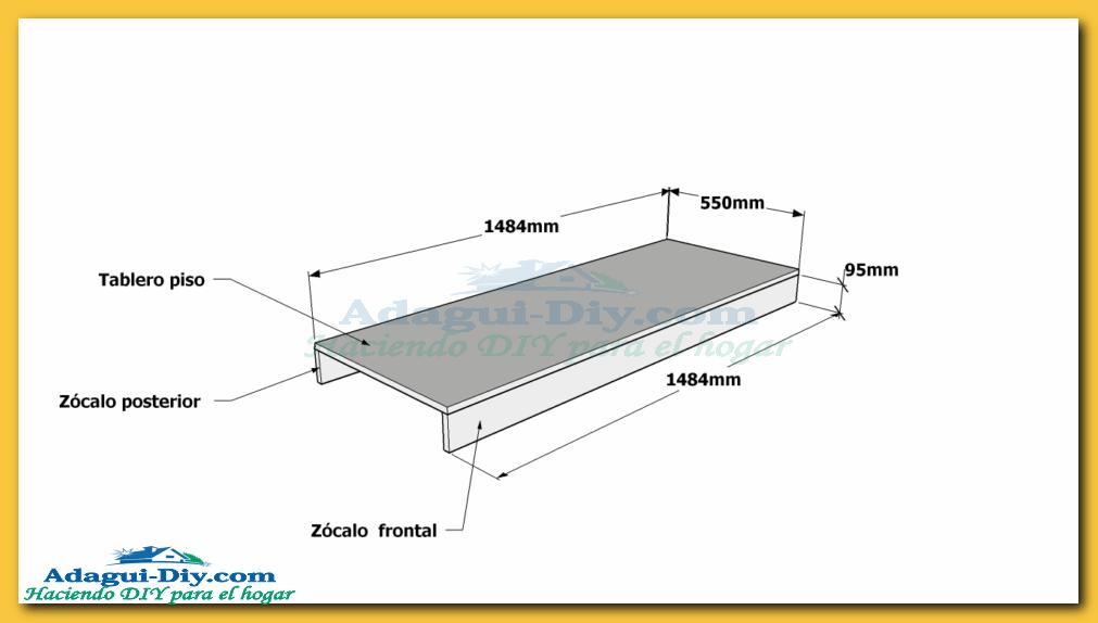 Como hacer muebles de cocina plano mueble bajo mesada de for Plano ropero melamina