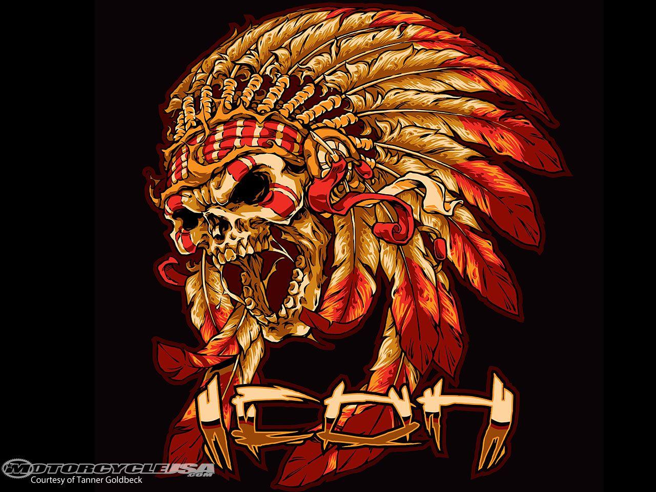 Mc lifeicon artist tanner goldbeck indian skull indian