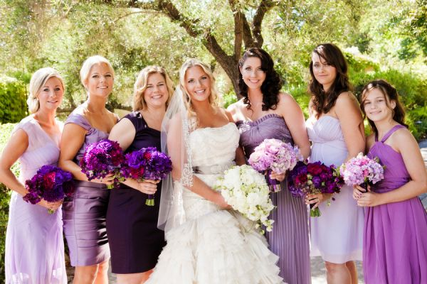 Stunning   Sophisticated Napa Wedding   Purple bridesmaid dresses ...