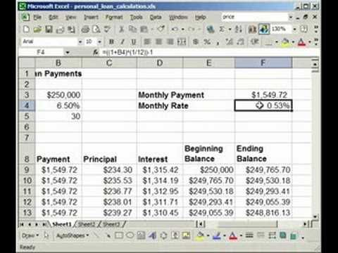 How To Make A Fixed Rate Loan Mortgage Calculator In Excel