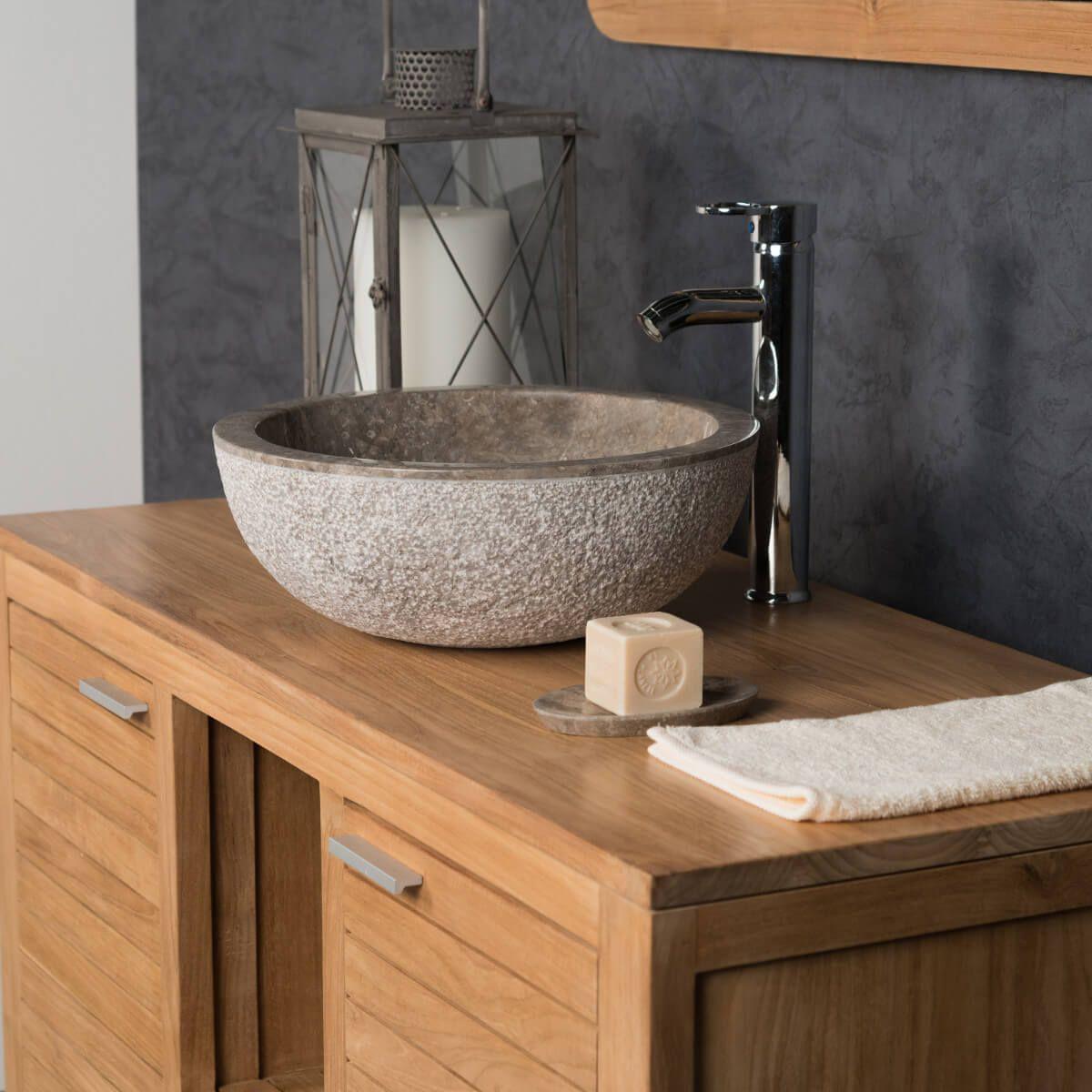 lavabo sobre encimera de mármol ESTRÓMBOLI gris topo 40 cm ...