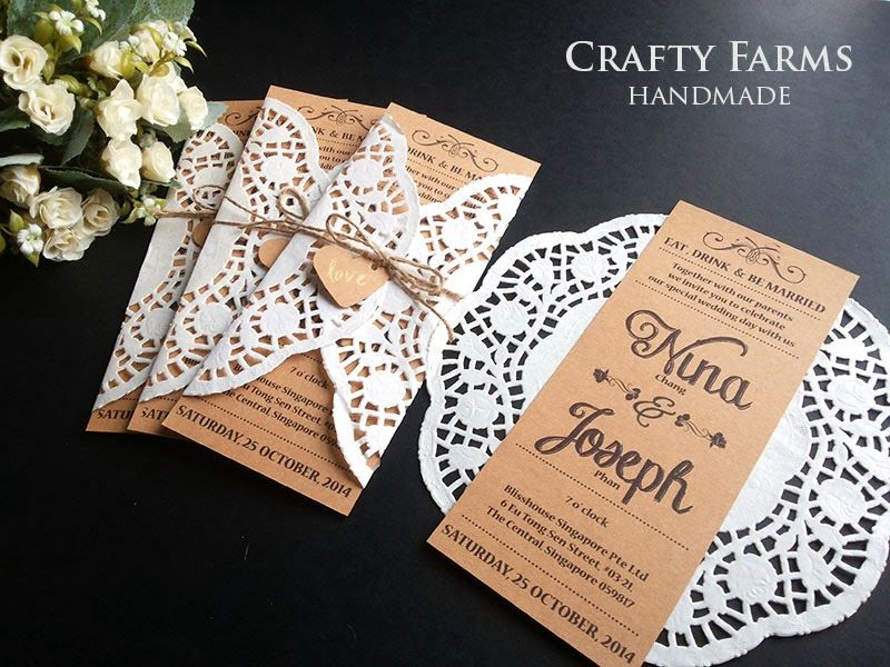 lace wedding invitation wrap%0A kraft  brown  rustic  card  doily  lace  paper  white   Rustic Wedding  Invitations