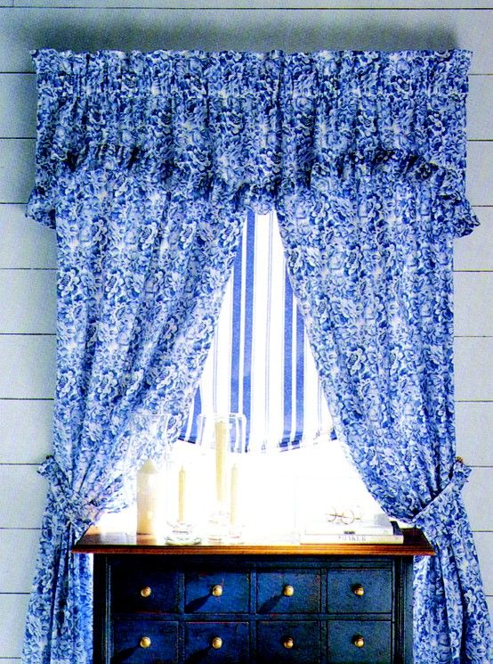 Vintage Laura Ashley\u0027s Palace garden Blue Cortinas Pinterest - cortinas azules