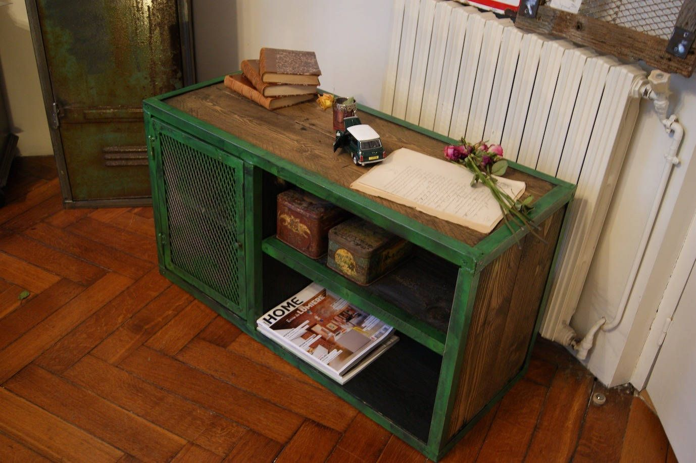 Meuble Industriel Vert Industrial Furniture Wood And Steel Meubles Industrial
