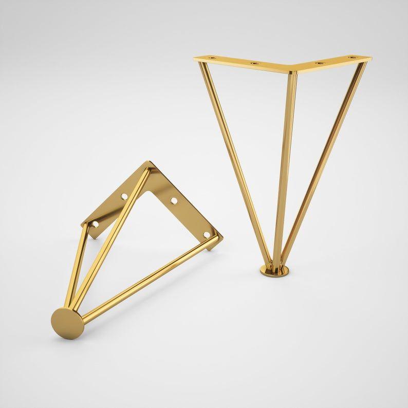 Set Of 4 Brass Cabinet Legs Brass Furniture Legs Metal Bench
