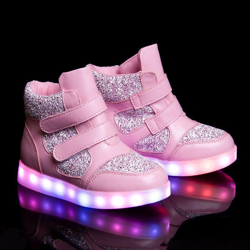 2016 new Kid's shoes led luminous shoes usb charging (Pink ...