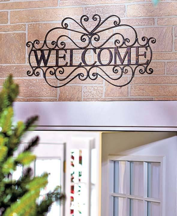 Scrolled Metal Rustic Welcome Wall Plaque Outdoor Greeting Porch ...