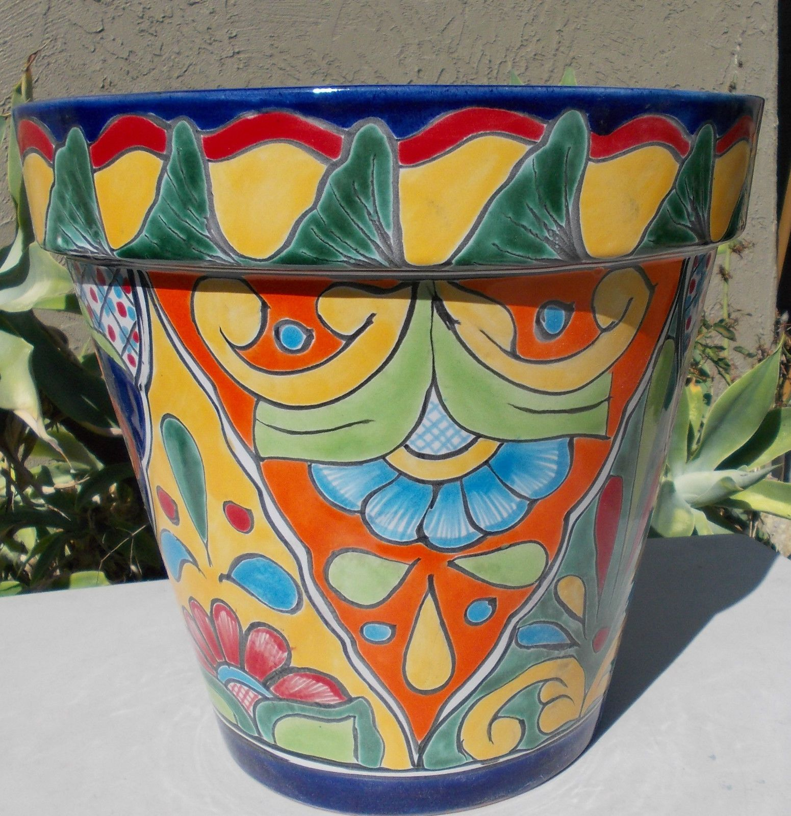 the plant red of in clay round planter arizona planters pot stand p mexican