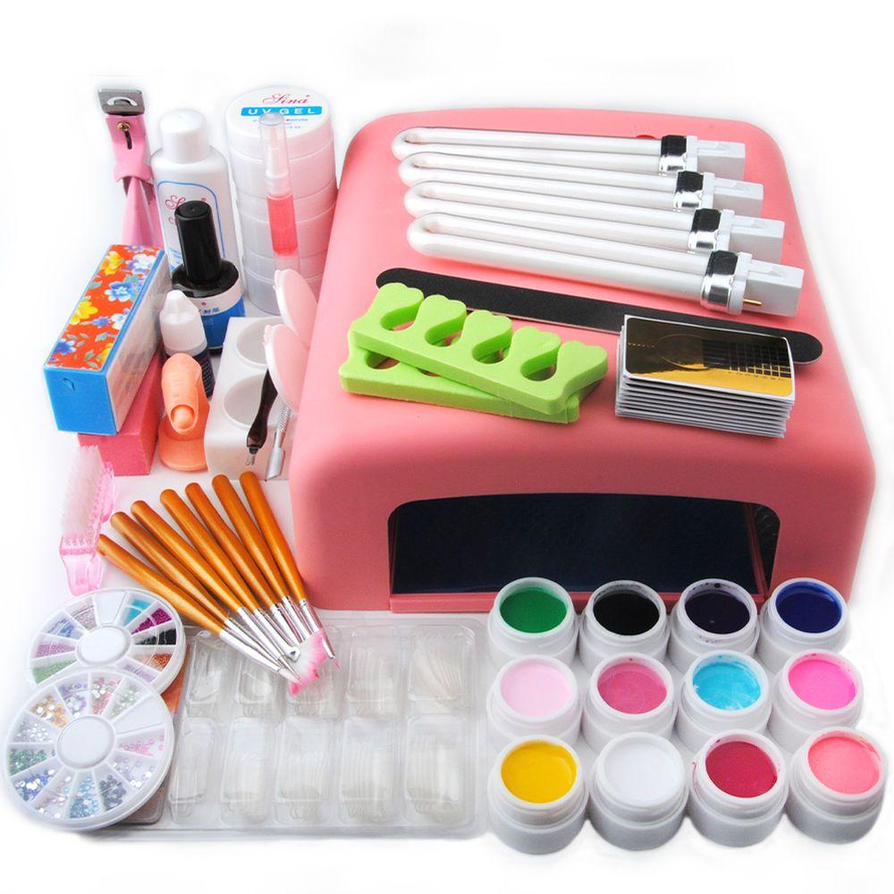 Nail Art Tools Set 36W UV Lamp Dryer +12 Color UV Gel Nails Tips ...