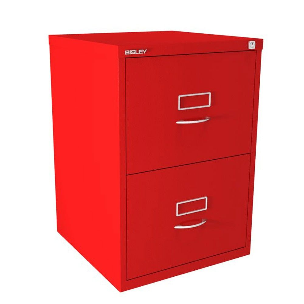 Attirant Bisley BS Series 2 Drawer Filing Cabinet   Cardinal Red   Classic Handles