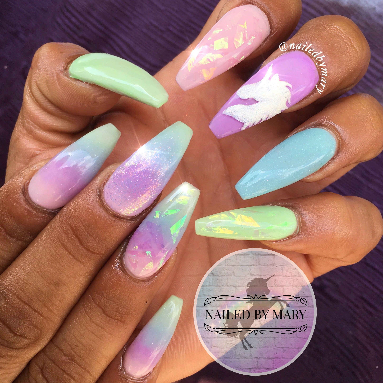 Unicorn Pastel Fairy Dust Glitter Holographic Glass Film Rainbow Art Cute Acrylic Nails