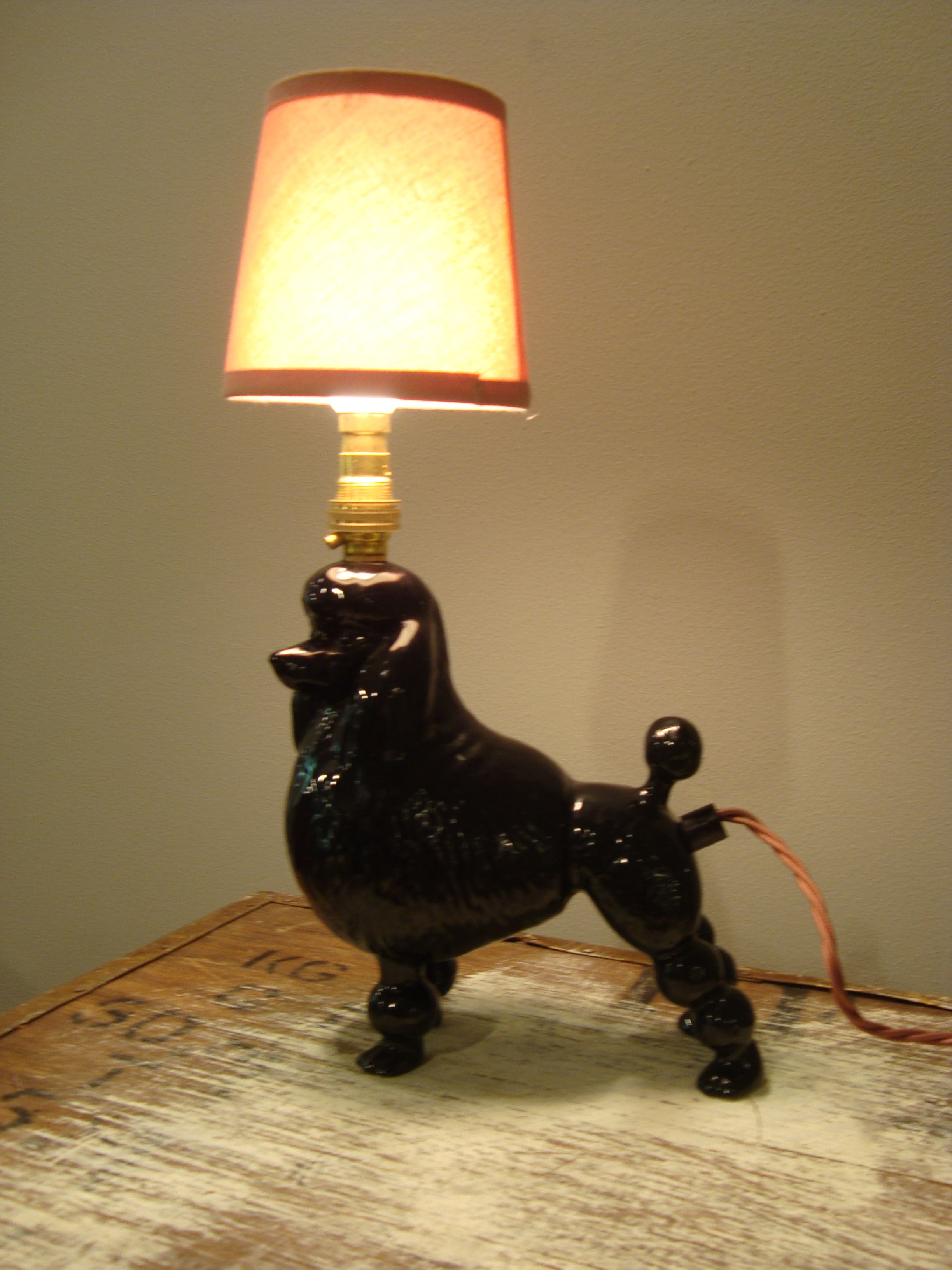 Poodle lostandfoundry lost foundry lighting table lamp using a vintage pottery dog by lostandfoundryuk geotapseo Images