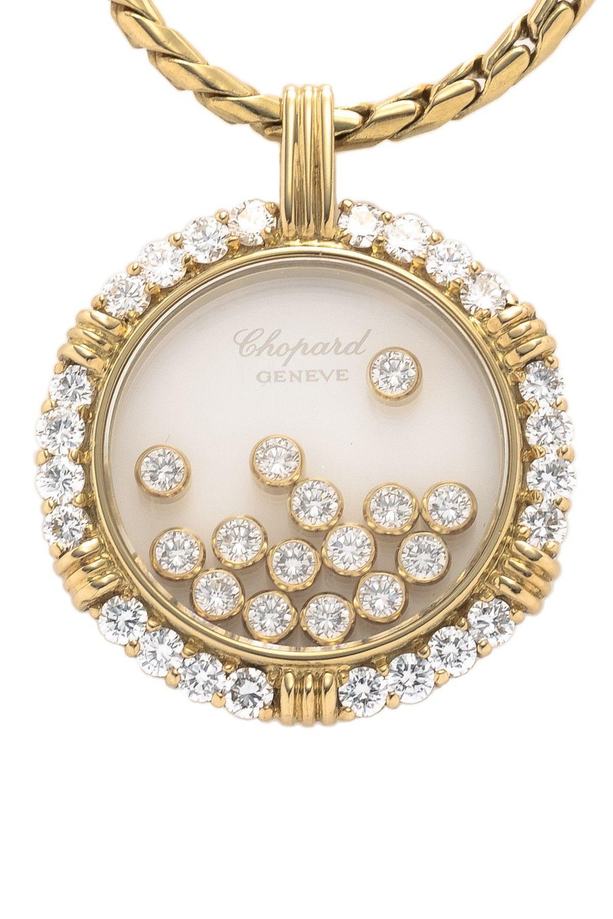 Vintage chopard k yellow gold happy diamond pendant necklace