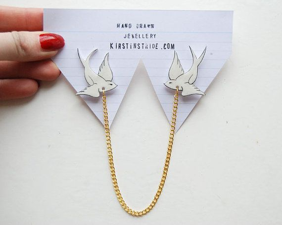 Collar Clips swallow / hand drawn / hand made by kirstinstride
