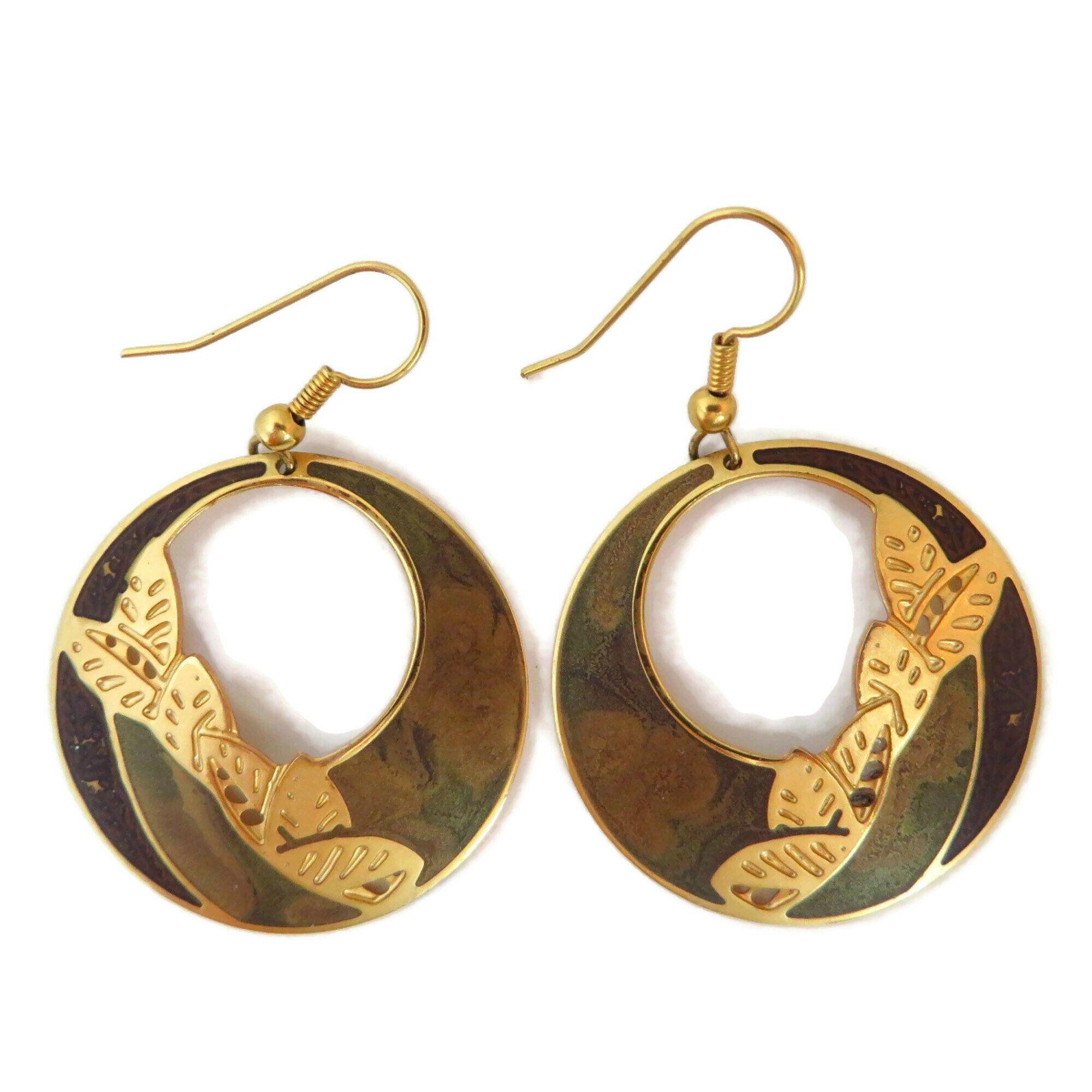 Edgar Berebi Dangling Hoop Earrings Vintage Brown & Gold