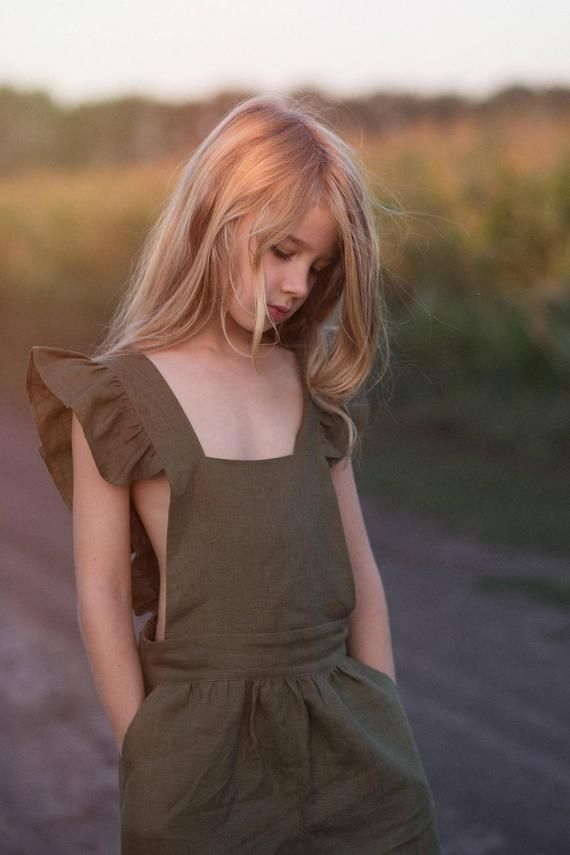 Linen overall for a girl, summer jumpsuit from nat