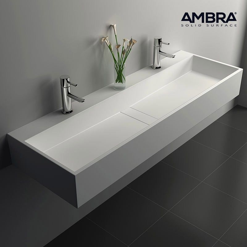 Vasque 120 cm suspendue ou à poser, en Solid surface - Valencia - Meuble De Salle De Bain Sans Vasque