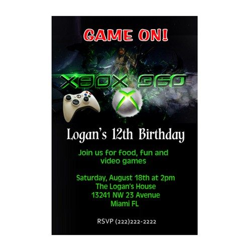 Printable xbox video game birthday invitation card bday party printable personalized xbox video game invitation customized invitation supplied to you as a digital file you print it you choose jpg great for stopboris Images