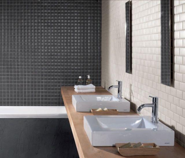 Kleinformatige Fliesen Schwarz Elfenbein ökologisch Einwandfrei Waschboard  Aus Holz