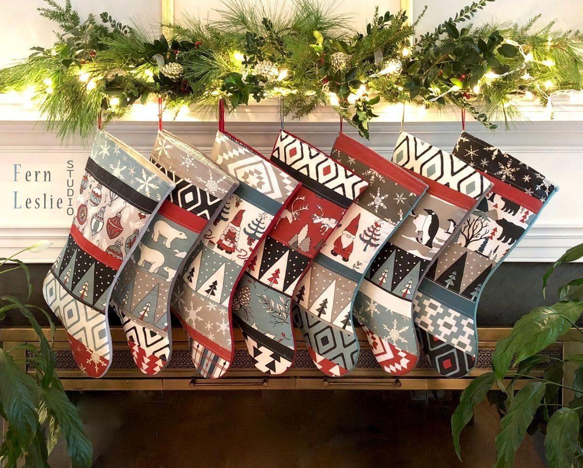 Family Christmas Stockings up to Set of 8 Modern Farmhouse