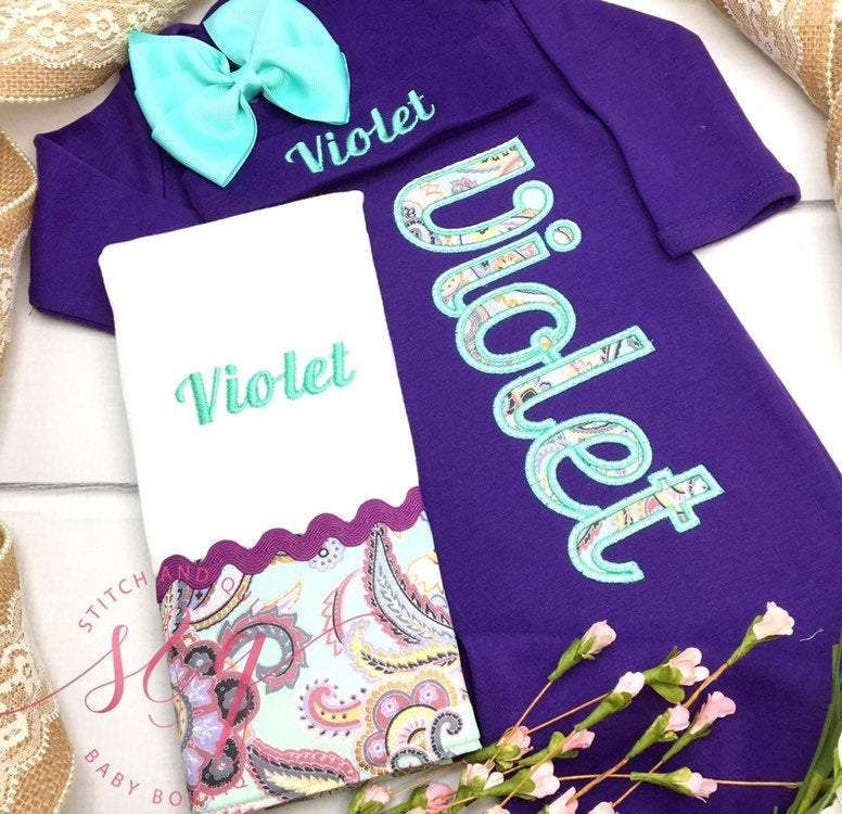 Baby girl coming home outfit purple gown, mint