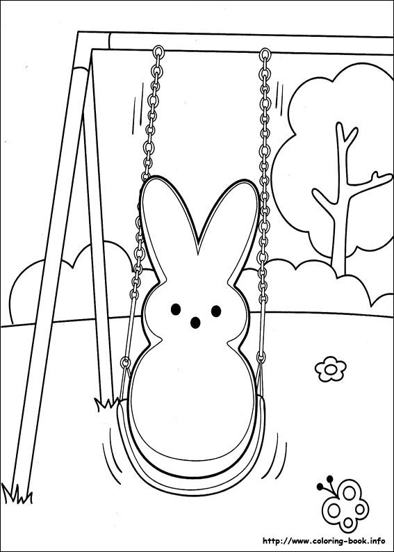 Peeps swinging | Bunny coloring pages, Coloring pages for ...