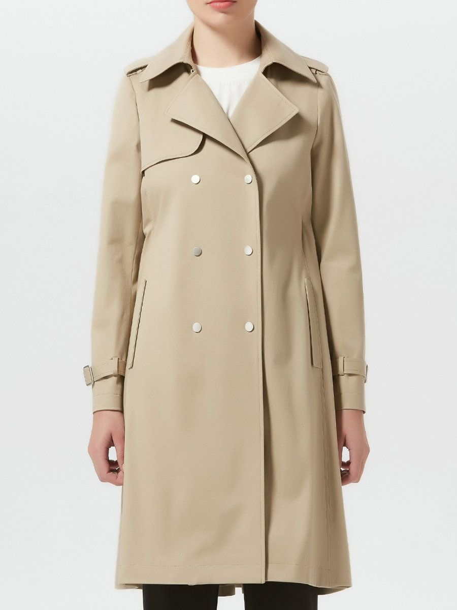 #AdoreWe #StyleWe MEACHEAL Camel Plain A-line Buttoned Long Sleeve Trench Coat - AdoreWe.com