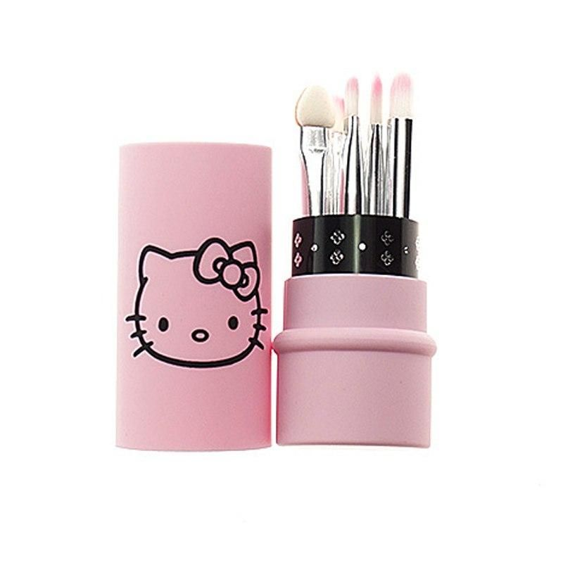 429e35b03 Hello Kitty 5pcs eyes makeup brushes set portable mini kit brush small make  up tool eyeshadow eyebrow pincel maquiagem by Bucket