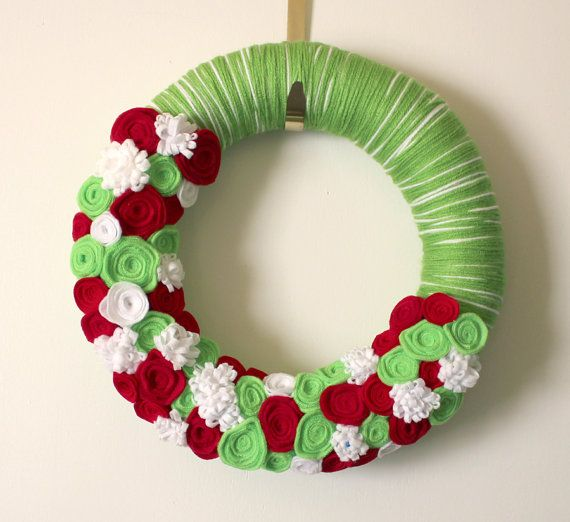 lime green and red wreath