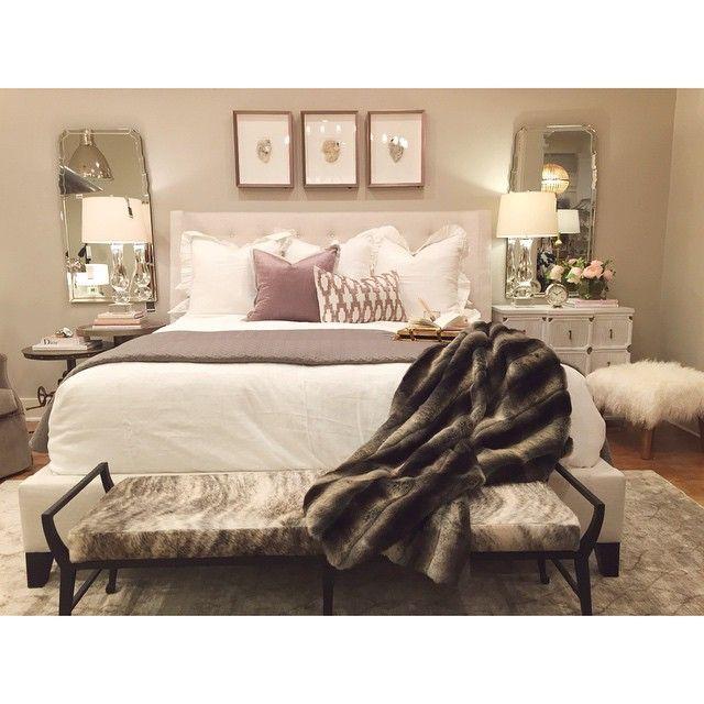 Bedroom Bench Name Bedroom Ideas Cozy Bedroom Ideas Glam Black Leather Bed Bedroom Ideas: Alice Lane Home Collection, Framed Crystals, Fur Blanket