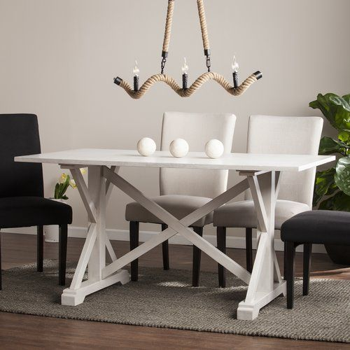 One allium way oller distressed farmhouse dining table for Mobilia kitchen table