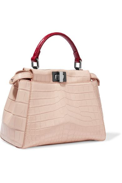 Fendi - Peekaboo Small Crocodile Shoulder Bag - Blush  c7fea201d5524