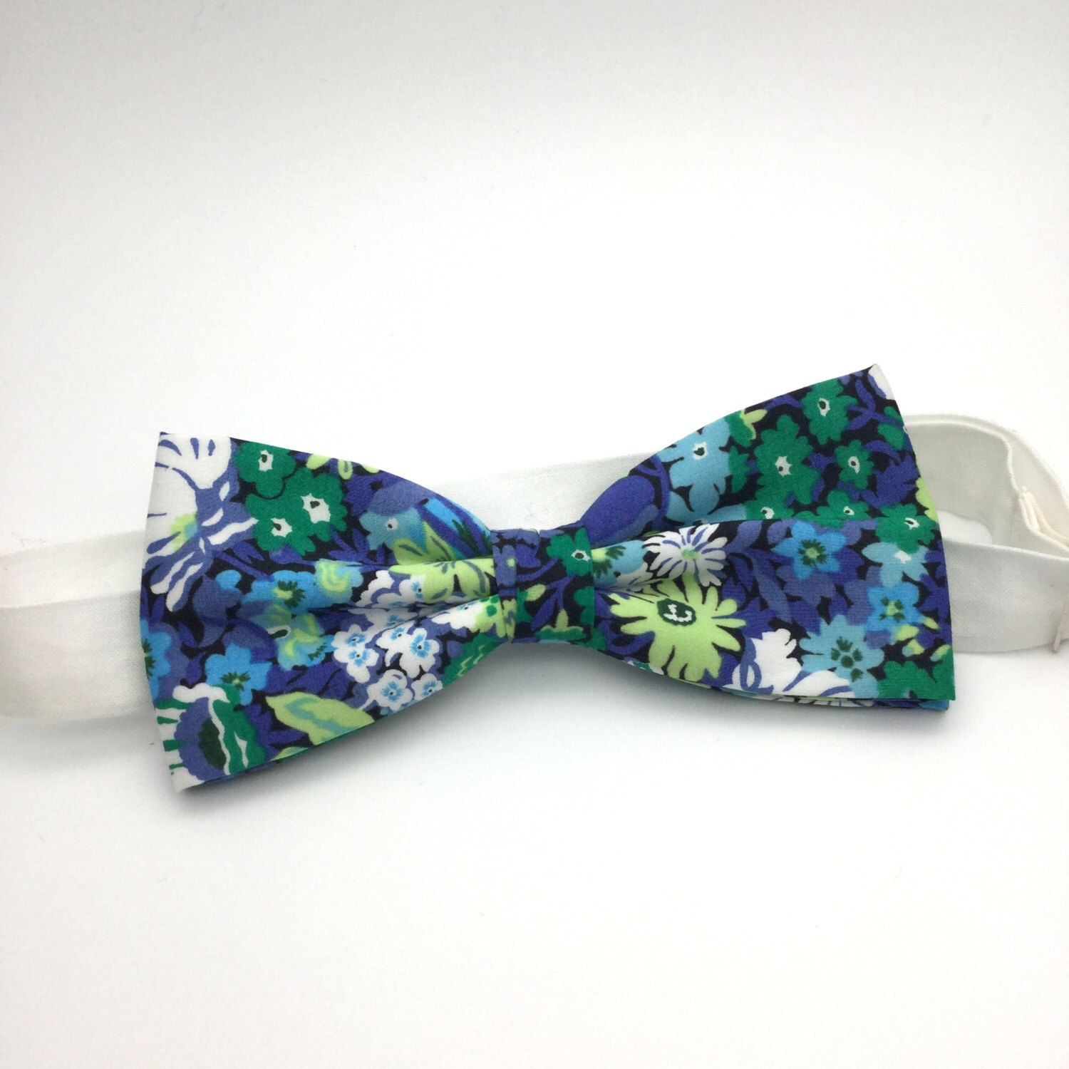 Mens Floral Bow tie Green Blue Floral Classic Liberty