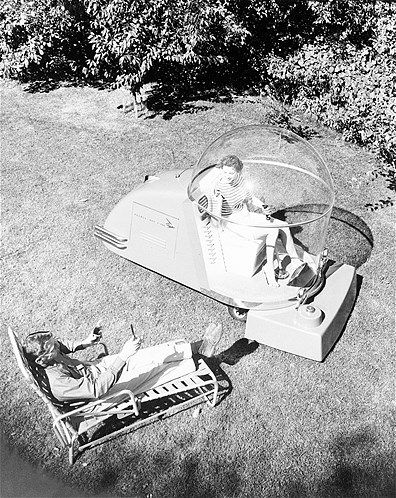air-conditioned lawn mower | Gardening | Retro futurism