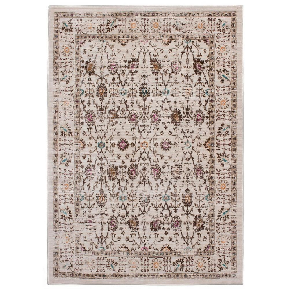 Stella Cream, Ivory 3 ft. 11 in. x 5 ft. 7 in. Area Rug, Ivory/Ivory