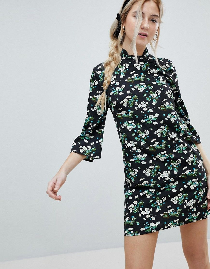 Influence Shift Dress With Mandarin Collar Detail In Daisy Garden Flor 23171741a